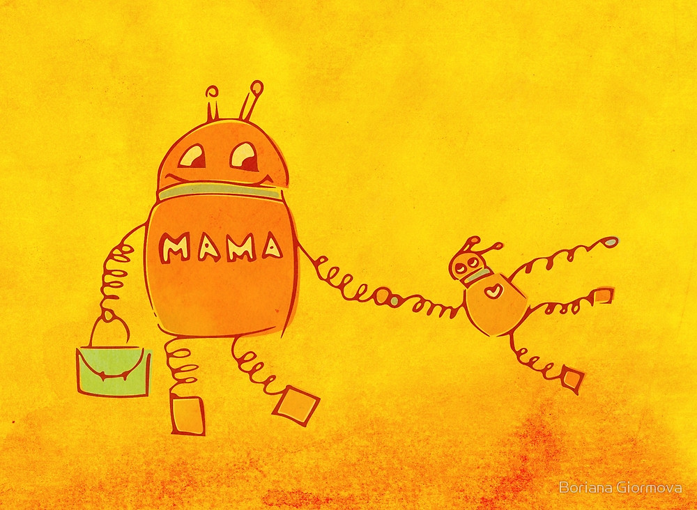 Robomama Robot Mother And Child Illustration