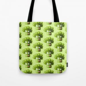Funny broccoli character tote bag at Society6