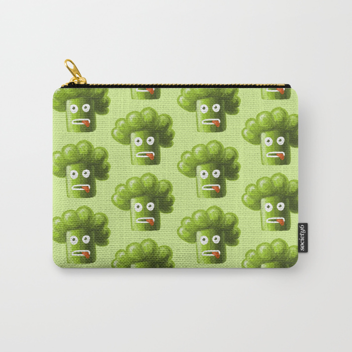 Funny broccoli character zip pouch at Society6