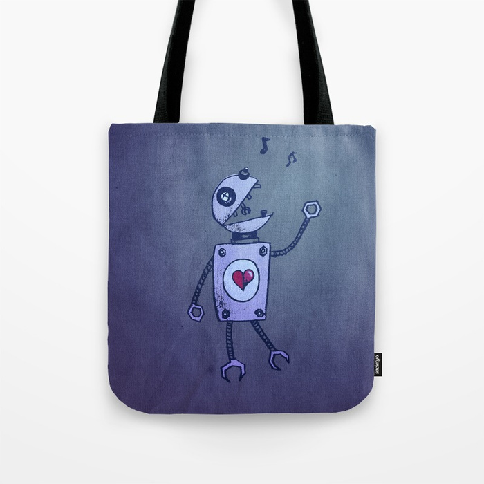 Robot character tote bag at Society6