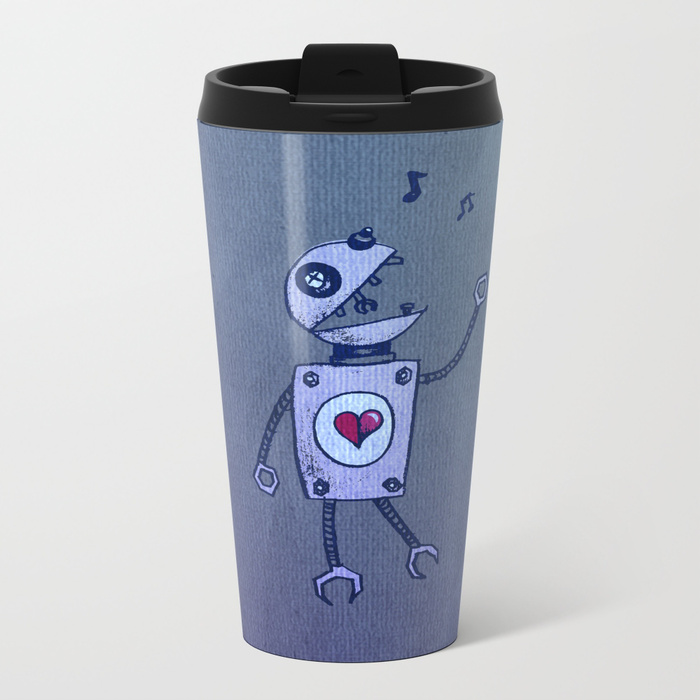 Robot character metal travel mug at Society6