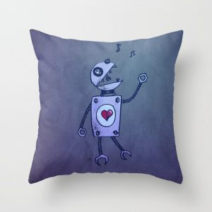 Robot character throw pillow at Society6