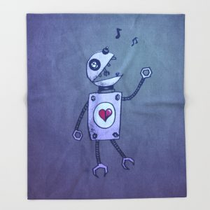 Robot character fleece blanket at Society6