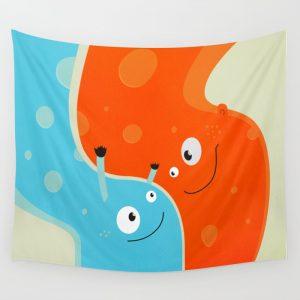 Happy mother and child wall tapestry at Society6