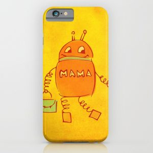 Robomama robot mother and child iPhone case at Society6