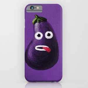 Funny eggplant character iPhone case at Society6