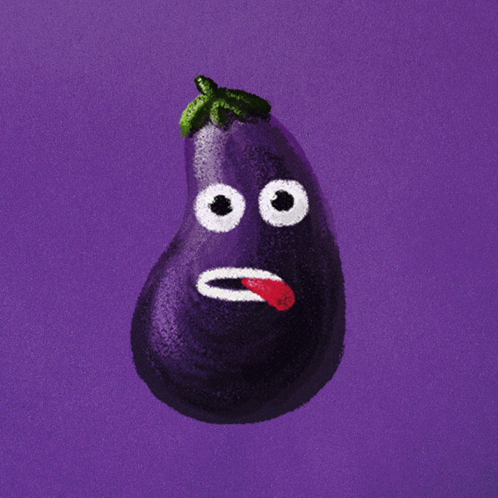 Funny eggplant character art print at Society6