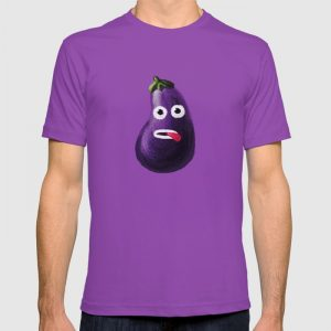 Funny eggplant character T-shirt at Society6