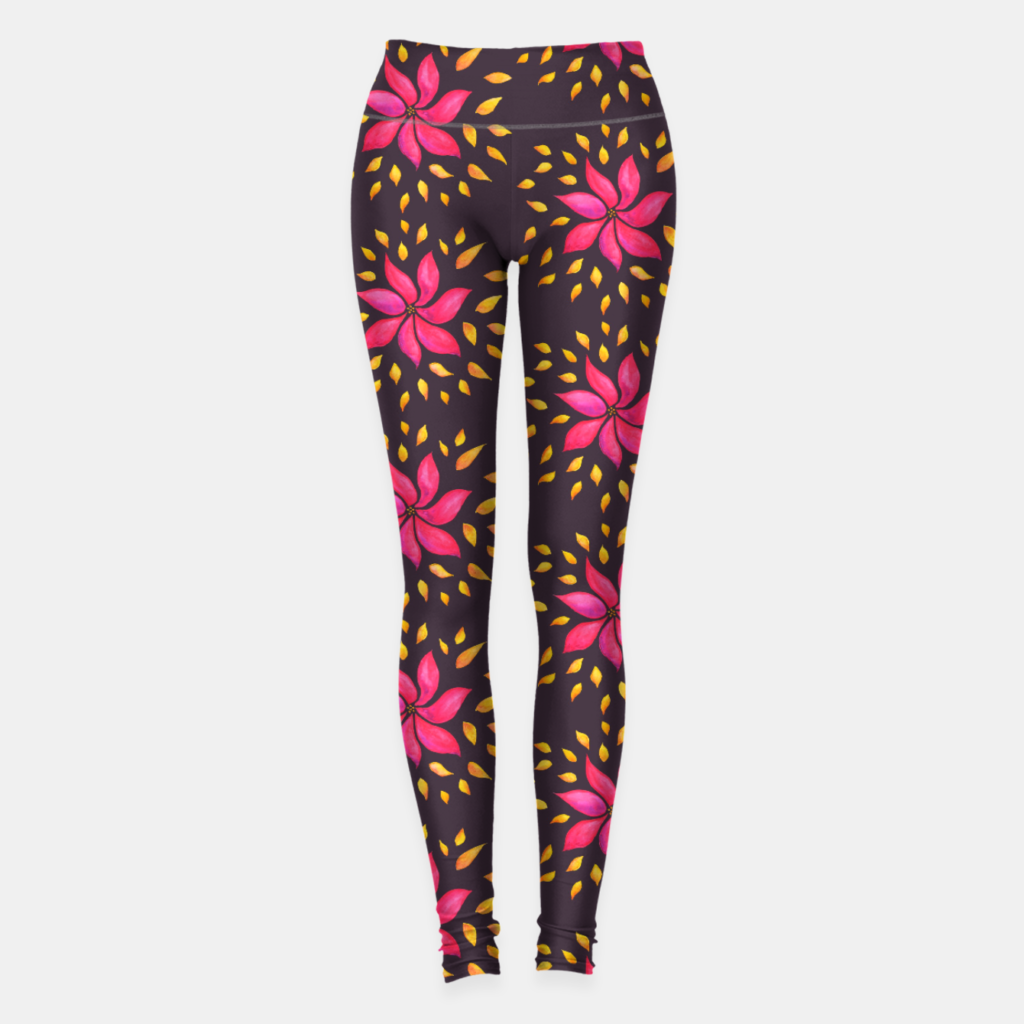 Floral leggings with a pattern of watercolor pink flowers