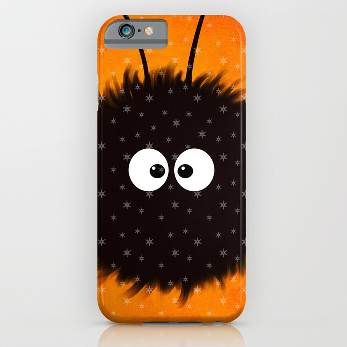 Orange cute dazzled bug iPhone case with snowflakes at Society6