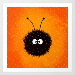 Orange cute dazzled bug art print with snowflakes at Society6