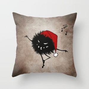 Dancing Christmas bug pillow at Society6