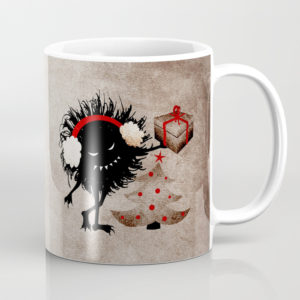 Evil Bug Gives Christmas Present mug at Society6
