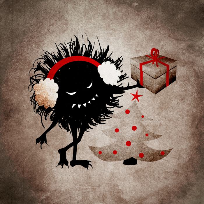 Evil Christmas bug with present art print at Society6