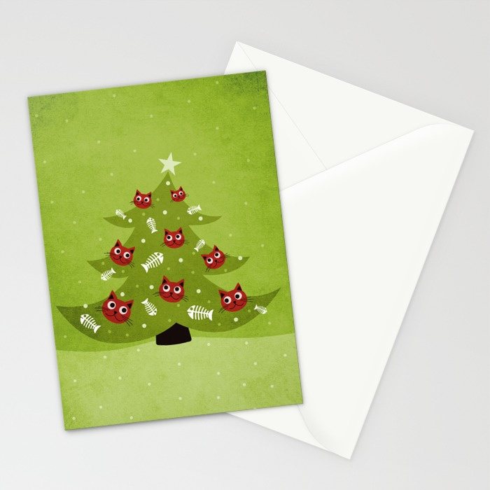Cat Christmas tree cards at Society6
