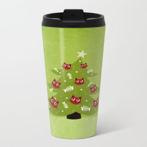 Cat Christmas tree travel mug at Society6