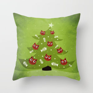 Cat Christmas tree pillow at Society6