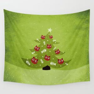 Cat Christmas tree wall tapestry at Society6