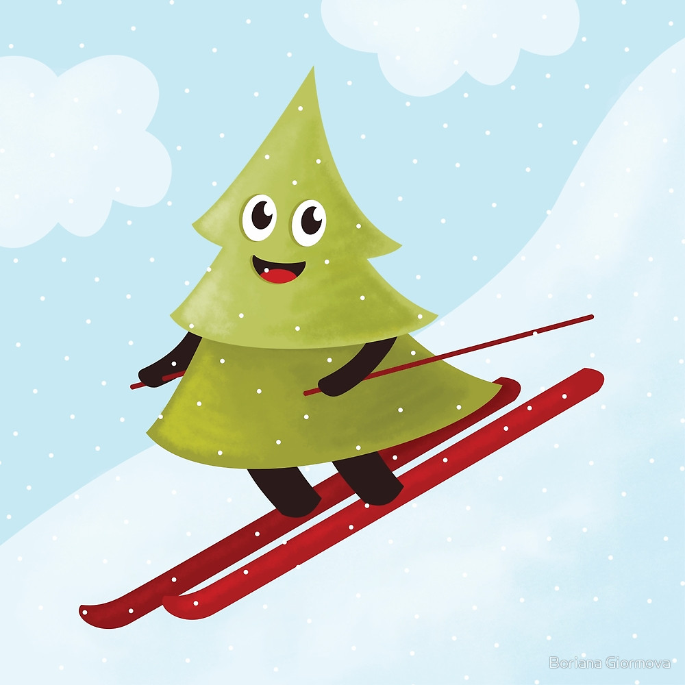 Pine tree on ski art prints at Redbubble