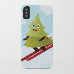 Pine tree on ski iPhone case at Society6