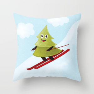 Pine tree on ski pillow at Society6