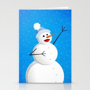 Singing snowman in blue cards at Society6