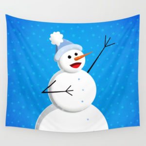 Singing snowman in blue tapestry at Society6