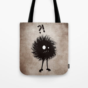 Evil bug wondering tote bag at Society6