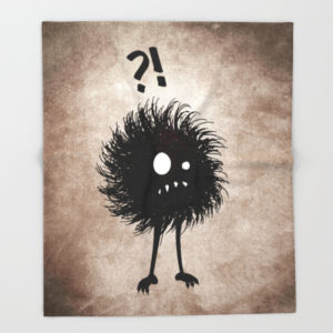 Evil bug wondering fleece blanket at Society6