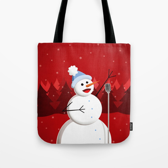 Singing snowman in red tote bag at Society6