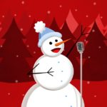 Singing Snowman Illustration for the winter holidays