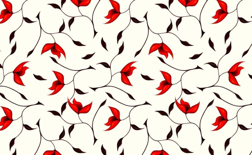 Abstract floral pattern of red flowers