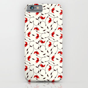 Strange red flowers pattern iPhone case at Society6