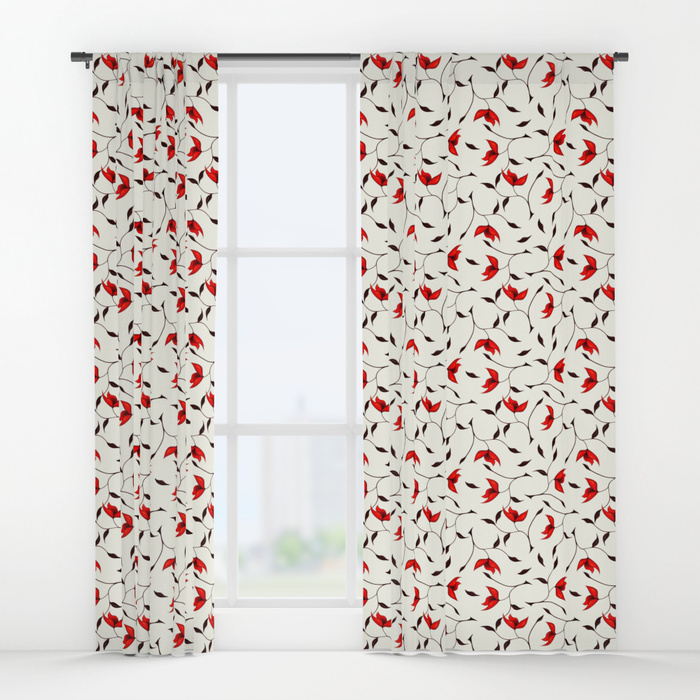 Strange red flowers pattern curtains at Society6