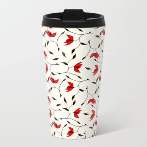 Strange red flowers travel mug pattern pouch at Society6