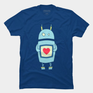 Clumsy Cute Robot With Heart T-Shirt at Design By Humans