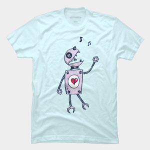 Grunge Happy Singing Robot T-Shirt at Design By Humans