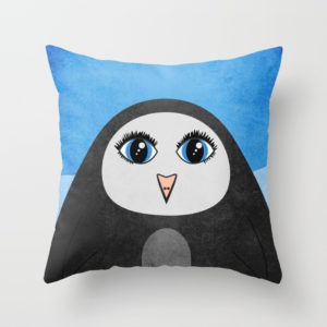 Geometric penguin pillow at Society6
