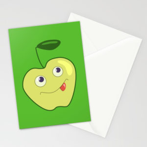 Green apple character cards at Society6