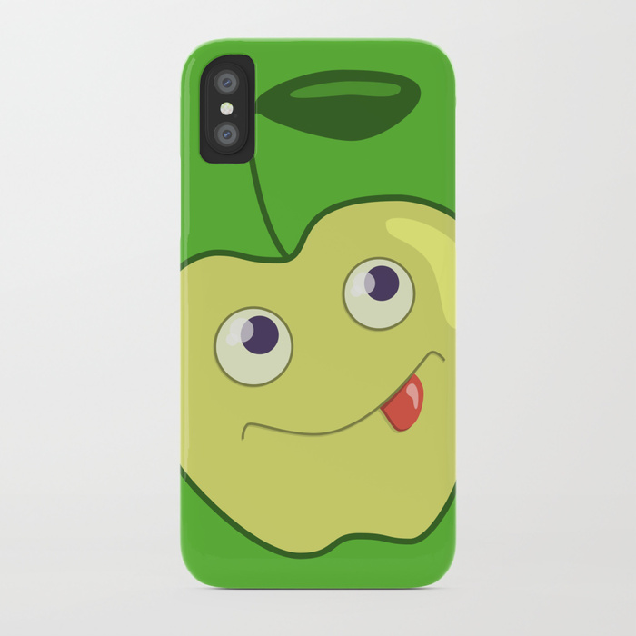 Green apple character iPhone case at Society6