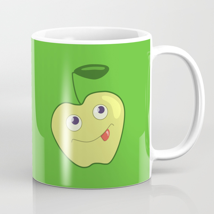 Green apple character mug at Society6