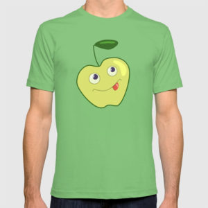 Green apple character shirt at Society6