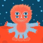 Fluffy alien character on red planet illustration
