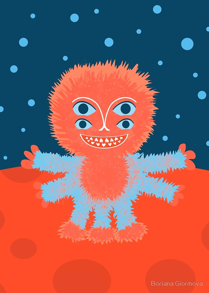 Fluffy alien art print depiction a cute character smiling happily, standing on a red planet.