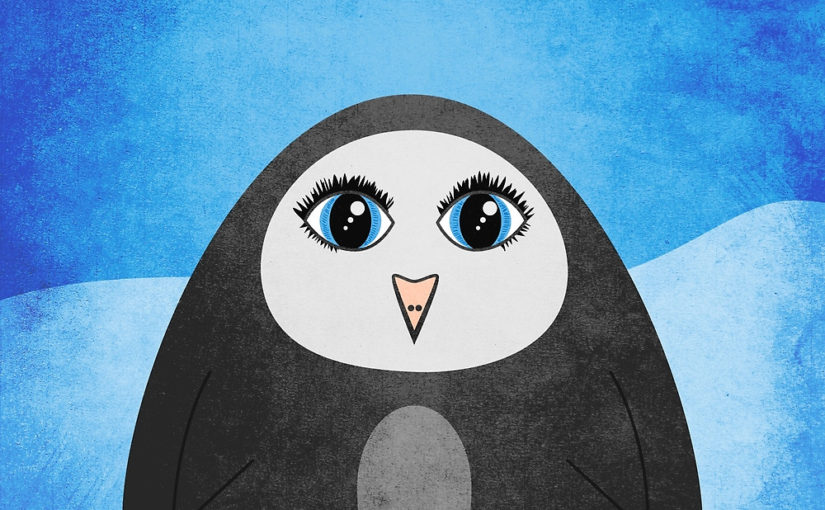 Geometric penguin cute cartoon illustration