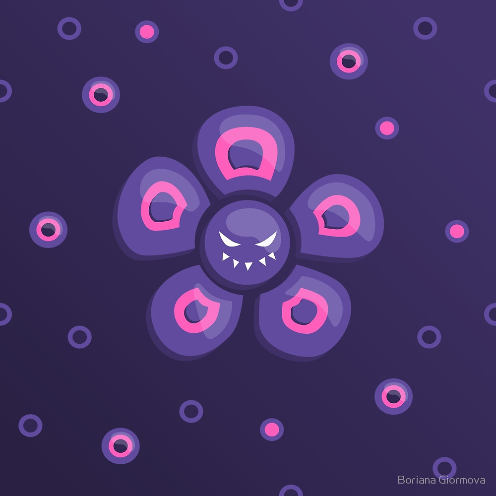 Evil flower character vector illustration in violet and pink