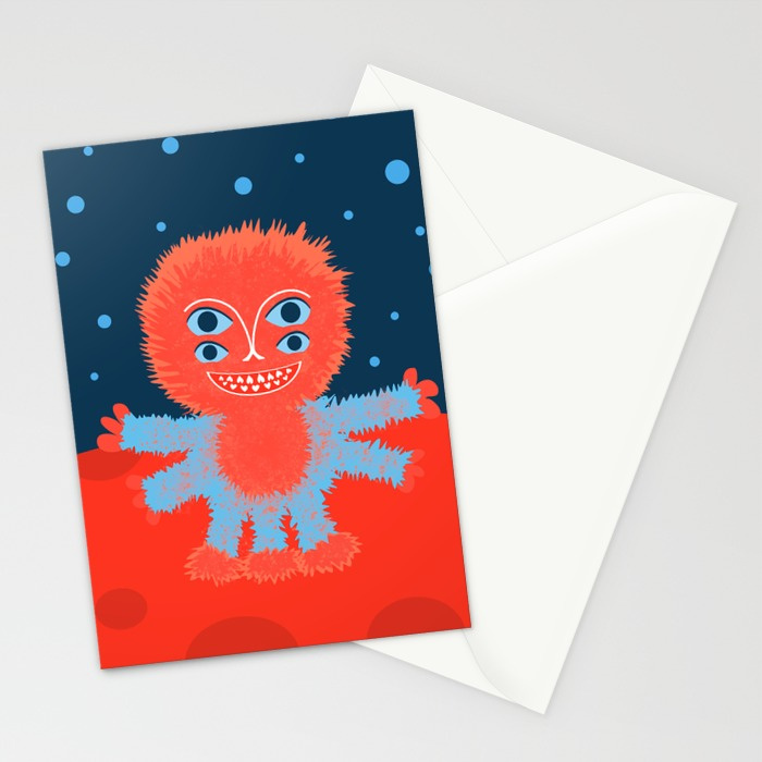 Happy alien character cards at Society6