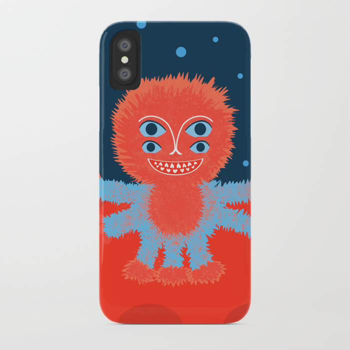 Happy alien character iPhone case at Society6