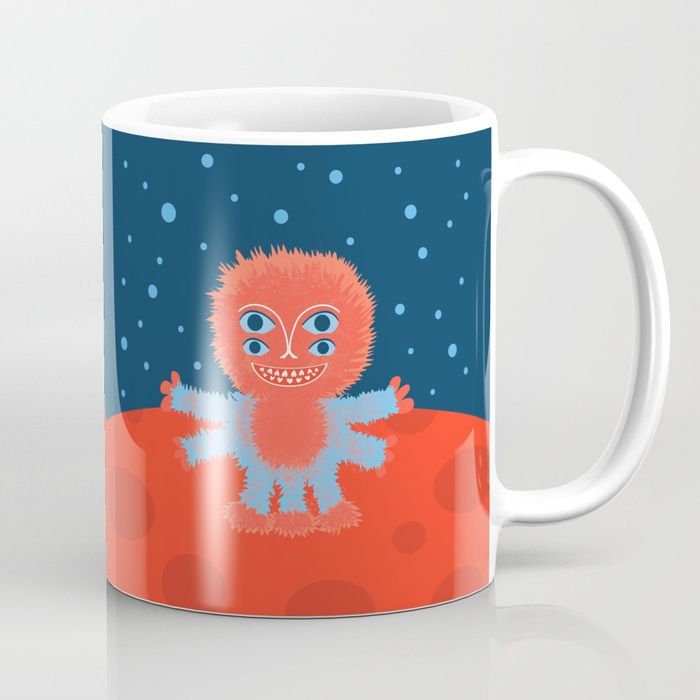 Happy alien character mug at Society6