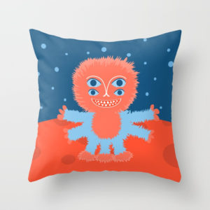 Happy alien character pillow at Society6